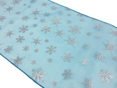 ArtOFabric Glitter Snowflake Organza Frozen Inspired Table Runner 30cm x 180cm Inch Turquoise