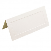 JAM Paper® Foldover Table Placecards - 5.1cm x 11cm - Off White with Embossed Border - 100 Cards per Pack