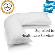 """•RohiLinen• NEW MEDICAL Living Orthopaedic V Shaped Support pillow """"Includes Complimentary Cream Pillow Case FREE"""""""