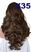 WIG FASHION 60cm Ladies 3/4 Half Fall Wig - Sexy Long Layered Curly Wavy Style - MEDIUM BROWN #8 - Heat Resistant Synthetic - Clip In Hair Piece Women Extension X35