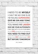 Oasis - Supersonic - Lyrical Song Art Poster - Unframed Print