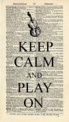 KEEP CALM AND PLAY ON ART PRINT - MUSIC ARTWORK - ART PRINT - VIOLIN ART PRINT - INSTRUMENT - GIFT - VINTAGE ART PRINT - Illustration - Vintage Dictionary Art Print - Wall Hanging - Home Décor - Housewares - Book Print - Wall Art - Watch - 344B