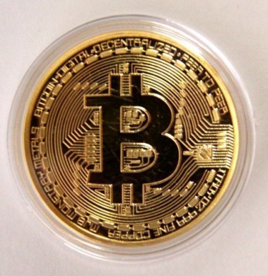 .999 Fine Gold Bitcoin Commemorative Round Collectors Coin - Bit Coin is Gold Plated Copper Physical Coin by Gold Bitcoin