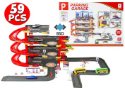 Parking Tower - Garage with exits, Lift, 6 cars, petrol station, 2 helicopters and other accessories - Garage Playset - City Car Park - Auto Parking Garage - Cars Play Set Toy