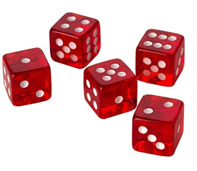 10 RED CASINO STYLE DICE / CRAPS - LARGE 19MM NEW