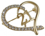 Signature Tiara 21st Birthday Gold Brooch with Crystals