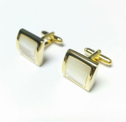 Mens Ladies Gold Tone Cufflinks With Mother Of Pearl Stone Wedding Formal Business