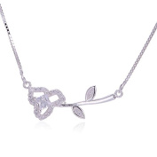 Wild Rose - 925 Sterling Silver Necklace Pendant with. Crystals