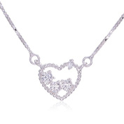 Sparkly Heart - 925 Sterling Silver Necklace Pendant with. Crystals
