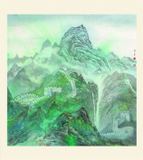 INK WASH Unframed Chinese Green Mountain Landscape Painting Wall Art Decal of The Great Wall of China for Home Office Living Room