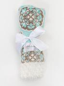 Aqua Medallion/Ivory Tile Baby Blanket