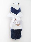 Navy Chevron/Navy Tile Baby Blanket