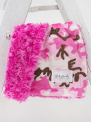 Baby Laundry Pink Camo/Fuchsia Swirl Cuddle Blanket 33cm x 46cm