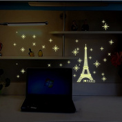 Night Lighting Eiffel Tower Vinyl Wall Decal PVC Home Sticker House Paper Painting Decoration Wallpaper Living Room Bedroom Kitchen Art Picture DIY Murals Kids Nursery Baby Decor