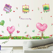 Heart Shapes Photos Frame Trees Flowers Vinyl Wall Decal PVC Home Sticker House Paper Painting Decoration Wallpaper Living Room Bedroom Kitchen Art Picture DIY Murals Kids Nursery Baby Decor