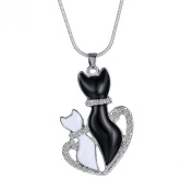 Stayoung Jewellery Colour Changing Mood Necklace - Two Cats on The Moon Heart Cat's Lover