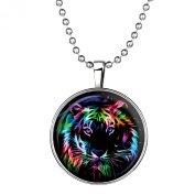 Stayoung Jewellery Tiger Head Pendant Silver Plated Luminous Time Gem Pendant Chain Necklace for Men Women