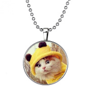 Stayoung Jewellery New Animal Yellow Cute Cat Pendant Necklaces Silver Time Gem Luminous Pendant Chain Necklace for Women