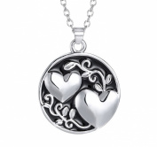 Stayoung Jewellery Women Men Magic Double Love Hearts Pendant Silver Colour Chain Necklace for Children