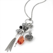 N20741 Silver Effect Heart & Red Bead Necklace Wedding