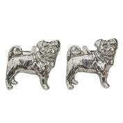 Luxury Pug Cufflinks Handcast by William Sturt in Fine Pewter