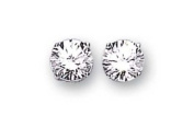 Sterling Silver (925 Stamped) Cubic Zirconia Stud Earrings 8mm Round