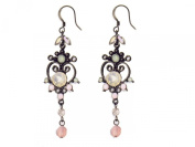 Vintage Crystal Scroll Heart Drop Earrings Ladies Jewellery Gift