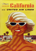 Vintage Travel Poster United Airlines SOCAL California Reproduction A4 Poster / Print 260GSM Photo Paper