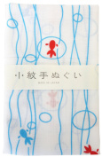 "Japanese Traditional Towel ""Tenugui"" Small PatternGoldfish-flowing"