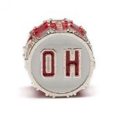 "Ohio State University Red ""OH"" Drum Bead Charm"