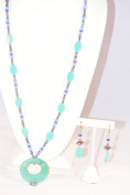 80cm Necklace & Earring Set W/fresh Water Pearl, Semi-precious Stone Bead and Stone Pendant