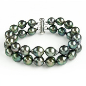 """Sterling Silver 2-Rows 8-10mm Hand-picked Black Off-shape Tahitian Cultured Pearl Bracelet, 7.25"""""""