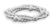 Three Strand Stacked Bead Stretch Bracelet Sterling Silver