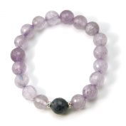 """""""Happy Day"""" Amethyst Sapphire with. Rondelle 17cm Stretch Bracelet"""