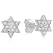925 Sterling Silver Pave Cubic Zirconia Star of David Jewish Kabbalah Post Earrings