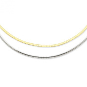 14k Two-tone 2.5mm Reversible Omega Necklace