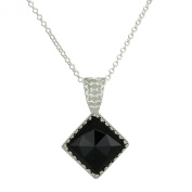 Ornate Diamond Shaped Pendant with Rose Cut Black Onyx 925 Sterling Silver Necklace, 46cm + 10cm Extender