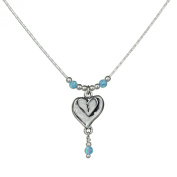 Double Heart Pendant with Created Opal Beads 925 Sterling Silver Necklace, 46cm + 10cm Extender