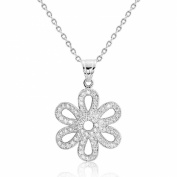 Cubic Zirconia Graceful Flower Silver Necklace