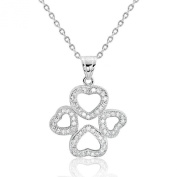 925 Sterling Silver Cubic Zirconia Wonderful Four Heart Pendant Necklace