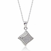 Graceful Micro Pave Setting 925 Sterling Silver CZ Pendant Necklace 41cm + 5.1cm Extender