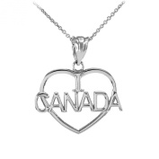 14k White Gold I Love CANADA Open Heart Shaped Pendant Necklace
