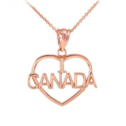 14k Rose Gold I Love CANADA Open Heart Shaped Pendant Necklace