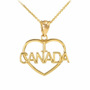 10k Yellow Gold I Love CANADA Open Heart Shaped Pendant Necklace