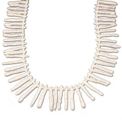 White Long Freshwater Pearl Branch Necklace with Silver Tone Toggle 48cm N15042921b