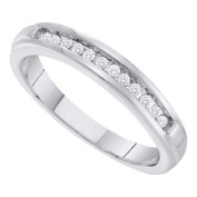 10K White Gold .13ct Diamond Band Stackable Ring size 7