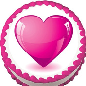 Pink Heart Birthday, Valentine or Anniversary Edible Cake Topper