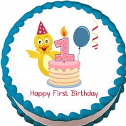 Ducky 1st Birthday Edible Cake Topper