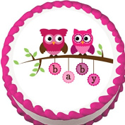 Pink Owls on a Branch Baby Shower Edible Cake Topper