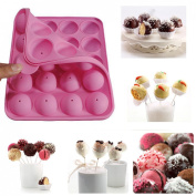 Sunwon® Silicone Cake Mould 20-cavity Half Circle Lollypop Party Cupcake Baking Mould Cake Pop Stick Mould Tray Pink